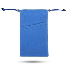 Funda Suave Terciopelo Tela Bolsa de Cordon Universal para Apple iPhone 11 Pro Azul
