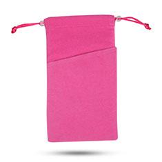 Funda Suave Terciopelo Tela Bolsa de Cordon Universal para Huawei P20 Rosa Roja