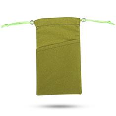 Funda Suave Terciopelo Tela Bolsa de Cordon Universal para Sony Xperia XZ2 Compact Verde