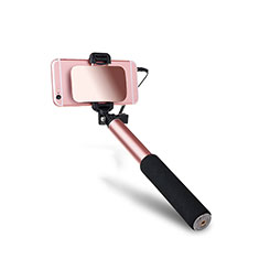 Palo Selfie Stick Extensible Conecta Mediante Cable Universal S03 Oro Rosa