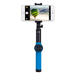 Palo Selfie Stick Tripode Bluetooth Disparador Remoto Extensible Universal T21 para Apple iPhone 11 Pro Max Azul