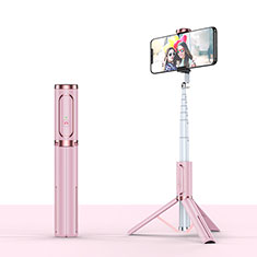 Palo Selfie Stick Tripode Bluetooth Disparador Remoto Extensible Universal T26 para Apple iPhone 11 Pro Max Oro Rosa