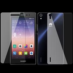 Protector de Pantalla Ultra Clear Frontal y Trasera Cristal Templado para Huawei Ascend P7 Claro