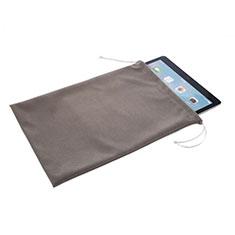 Suave Terciopelo Tela Bolsa de Cordon Carcasa para Apple iPad 3 Gris
