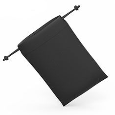 Suave Terciopelo Tela Bolsa de Cordon Carcasa Universal S04 para Sony Xperia Z3+ Plus Negro