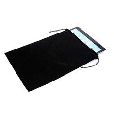 Suave Terciopelo Tela Bolsa de Cordon Funda para Huawei MediaPad X2 Negro