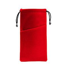 Suave Terciopelo Tela Bolsa de Cordon Funda Universal K02 para Sony Xperia XA2 Plus Rojo