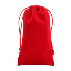 Suave Terciopelo Tela Bolsa de Cordon Funda Universal para Sony Xperia XZ2 Compact Rojo
