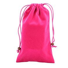 Suave Terciopelo Tela Bolsa de Cordon Funda Universal para Sony Xperia XZ2 Compact Rosa Roja