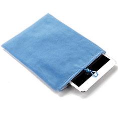 Suave Terciopelo Tela Bolsa Funda para Apple iPad 2 Azul Cielo