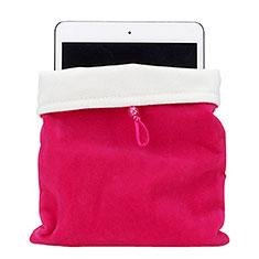 Suave Terciopelo Tela Bolsa Funda para Apple iPad Air 2 Rosa Roja
