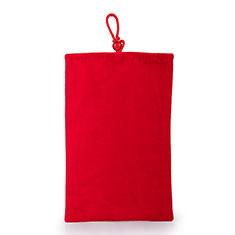 Suave Terciopelo Tela Bolsa Funda Universal para Huawei Mate 8 Rojo