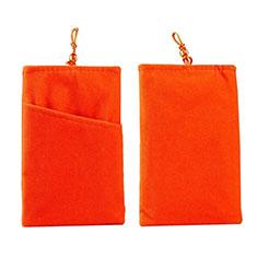 Suave Terciopelo Tela Bolsillo Carcasa Universal para Apple iPhone 11 Pro Naranja