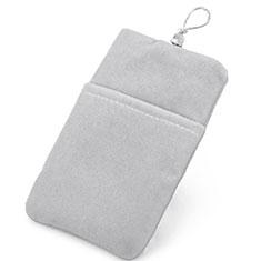 Suave Terciopelo Tela Bolsillo Carcasa Universal para Sony Xperia XZ2 Compact Plata
