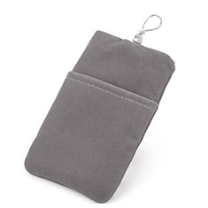 Suave Terciopelo Tela Bolsillo Funda Universal para Apple iPhone 11 Gris
