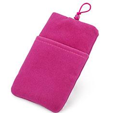 Suave Terciopelo Tela Bolsillo Funda Universal para Sony Xperia XZ2 Compact Rosa Roja