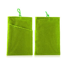 Suave Terciopelo Tela Bolsillo Funda Universal para Sony Xperia XZ2 Compact Verde