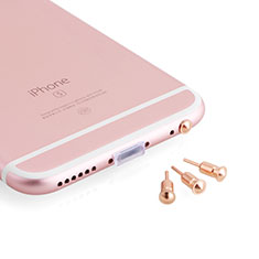 Tapon Antipolvo Jack 3.5mm Android Apple Universal D05 para Samsung Galaxy S21 Ultra 5G Oro Rosa
