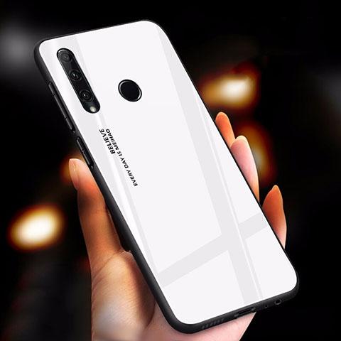 Carcasa Bumper Funda Silicona Espejo Gradiente Arco iris para Huawei Honor 20 Lite Blanco