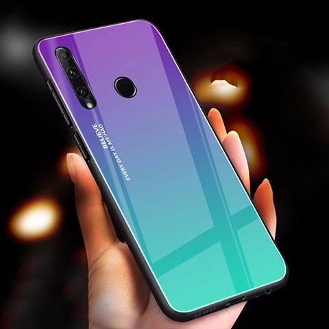 Carcasa Bumper Funda Silicona Espejo Gradiente Arco iris para Huawei Honor 20 Lite Cian