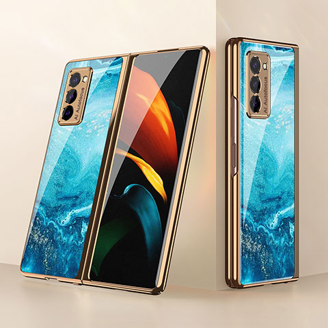 Carcasa Bumper Funda Silicona Espejo para Samsung Galaxy Z Fold2 5G Azul Cielo