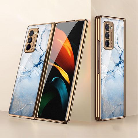 Carcasa Bumper Funda Silicona Espejo para Samsung Galaxy Z Fold2 5G Azul Claro