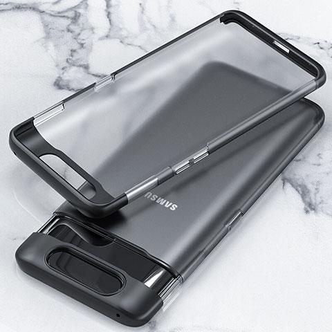 Carcasa Dura Cristal Plastico Funda Rigida Transparente H02 para Samsung Galaxy A80 Negro
