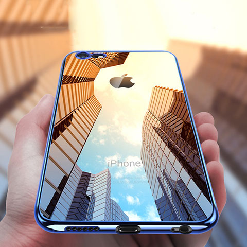 Carcasa Silicona Ultrafina Transparente T16 para Apple iPhone 6S Azul