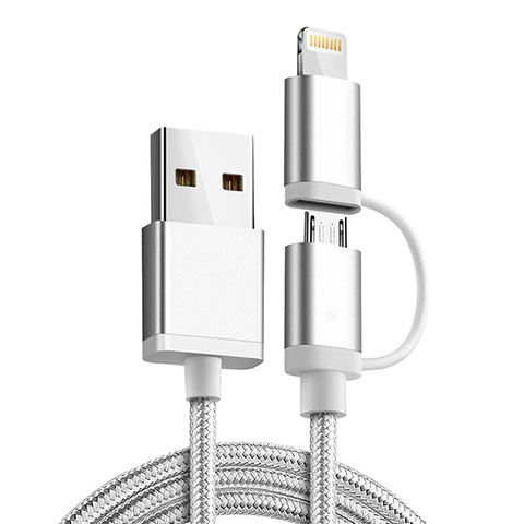 Cargador Cable Lightning USB Carga y Datos Android Micro USB C01 para Apple iPhone 11 Pro Plata