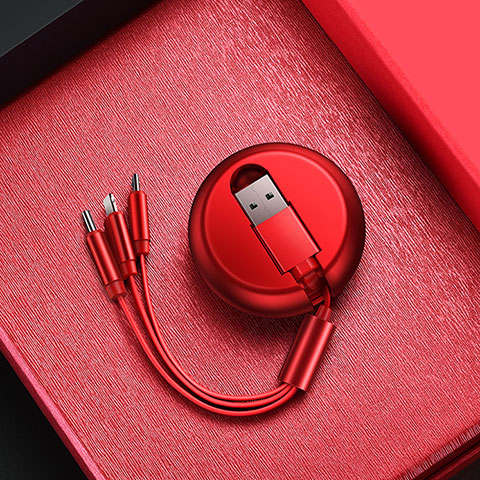 Cargador Cable Lightning USB Carga y Datos Android Micro USB C09 para Apple iPhone 11 Rojo