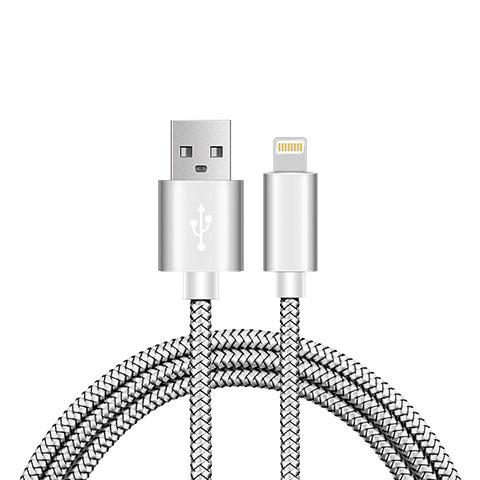 Cargador Cable USB Carga y Datos L07 para Apple iPhone 11 Pro Plata