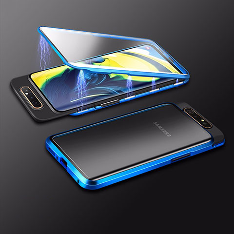 Funda Bumper Lujo Marco de Aluminio Espejo 360 Grados Carcasa M01 para Samsung Galaxy A80 Azul