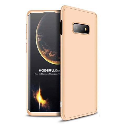 Funda Dura Plastico Rigida Carcasa Mate Frontal y Trasera 360 Grados para Samsung Galaxy S10e Oro