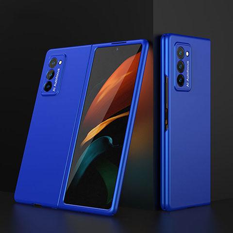 Funda Dura Plastico Rigida Carcasa Mate Frontal y Trasera 360 Grados para Samsung Galaxy Z Fold2 5G Azul