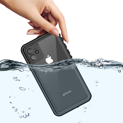 Funda Impermeable Bumper Silicona y Plastico Waterproof Carcasa 360 Grados W01 para Apple iPhone 11 Negro