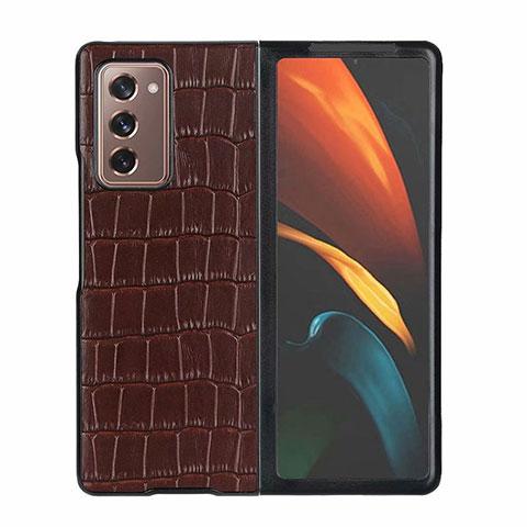 Funda Lujo Cuero Carcasa S02 para Samsung Galaxy Z Fold2 5G Marron