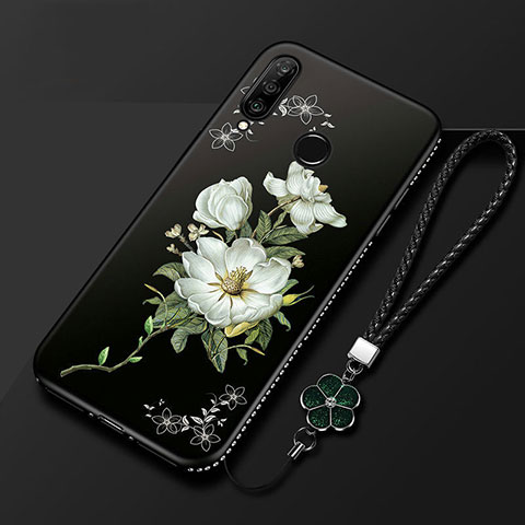 Funda Silicona Gel Goma Flores Carcasa para Huawei Honor 20 Lite Negro