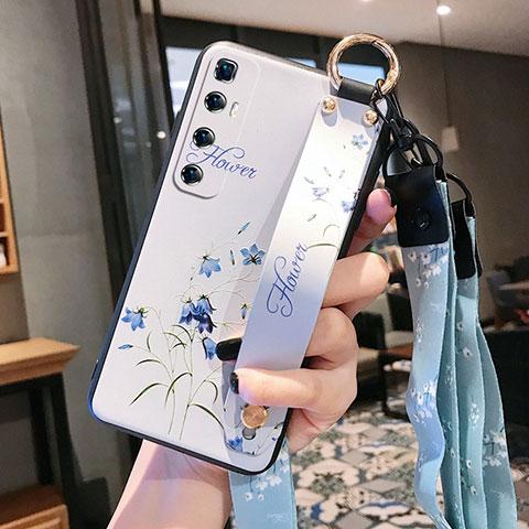 Funda Silicona Gel Goma Flores Carcasa para Xiaomi Mi 10 Ultra Blanco