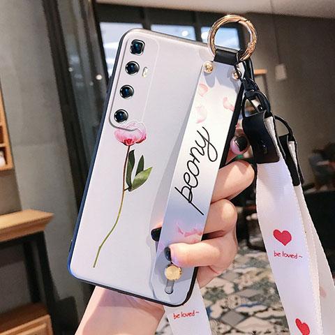 Funda Silicona Gel Goma Flores Carcasa para Xiaomi Mi 10 Ultra Rosa