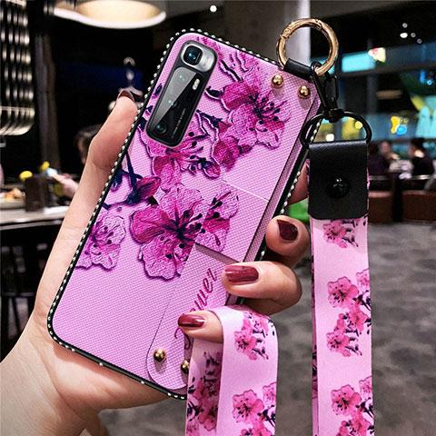 Funda Silicona Gel Goma Flores Carcasa S01 para Xiaomi Mi 10 Ultra Purpura Claro