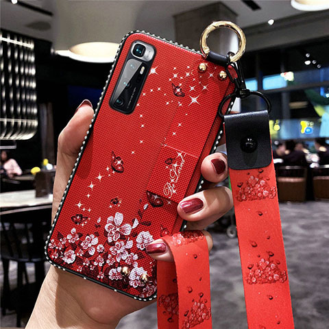 Funda Silicona Gel Goma Flores Carcasa S01 para Xiaomi Mi 10 Ultra Rojo