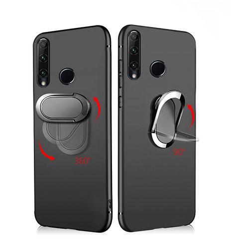 Funda Silicona Ultrafina Goma con Magnetico Anillo de dedo Soporte para Huawei Honor 20 Lite Negro
