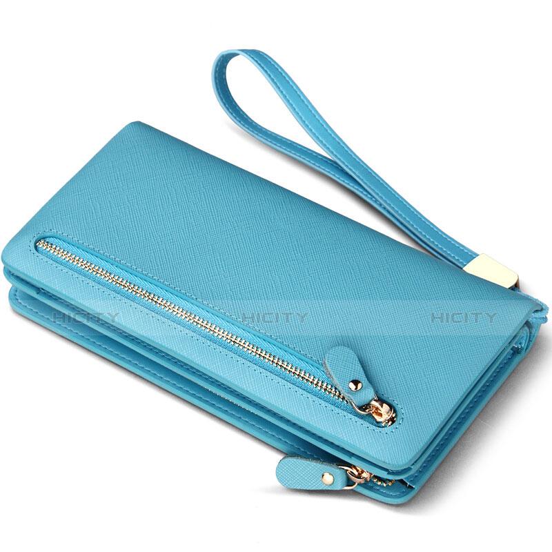 Bolso Cartera Protectora Funda de Cuero con tapa de seda Universal T01 Azul Cielo