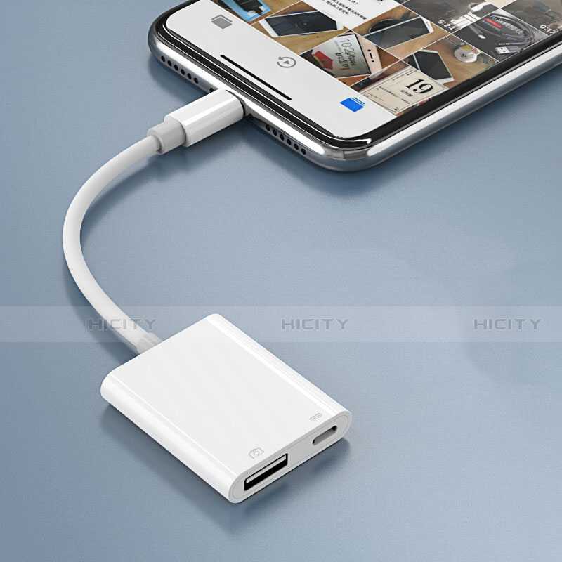 Cable Adaptador Lightning a USB OTG H01 para Apple iPhone 11 Blanco