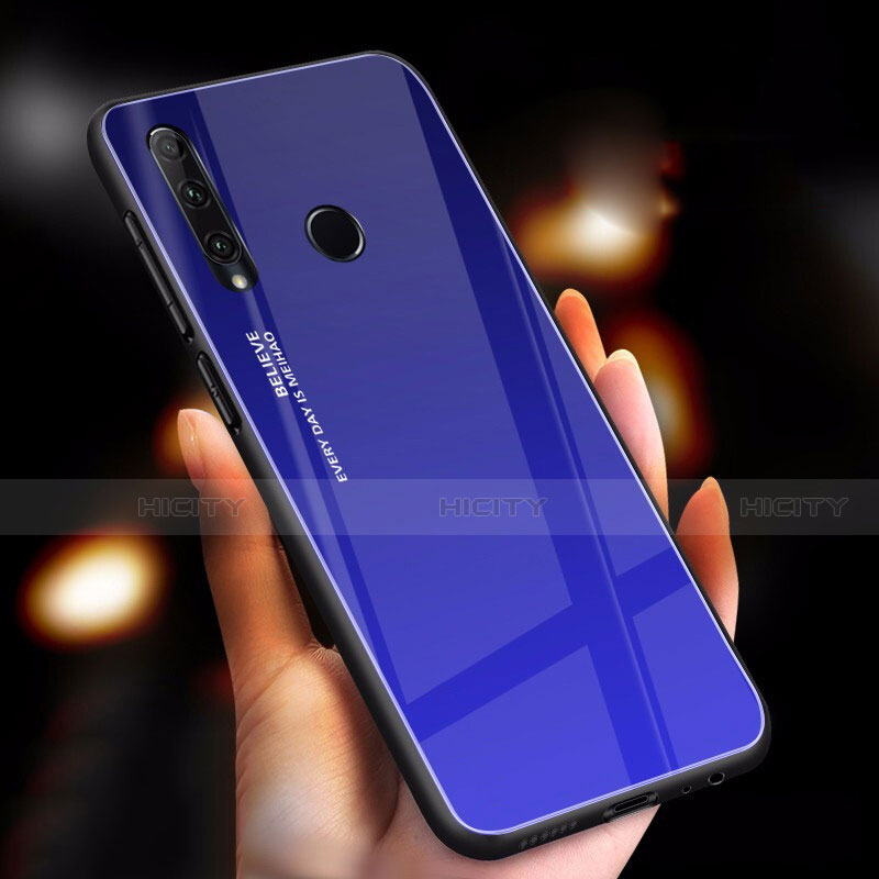 Carcasa Bumper Funda Silicona Espejo Gradiente Arco iris para Huawei Honor 20 Lite Azul