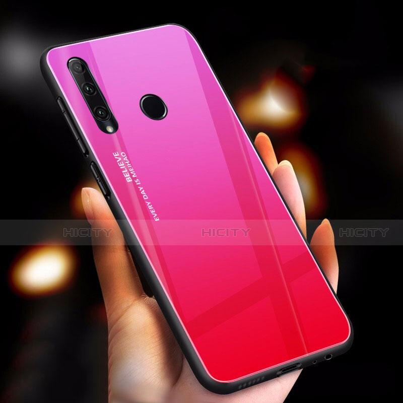 Carcasa Bumper Funda Silicona Espejo Gradiente Arco iris para Huawei Honor 20 Lite Rosa Roja