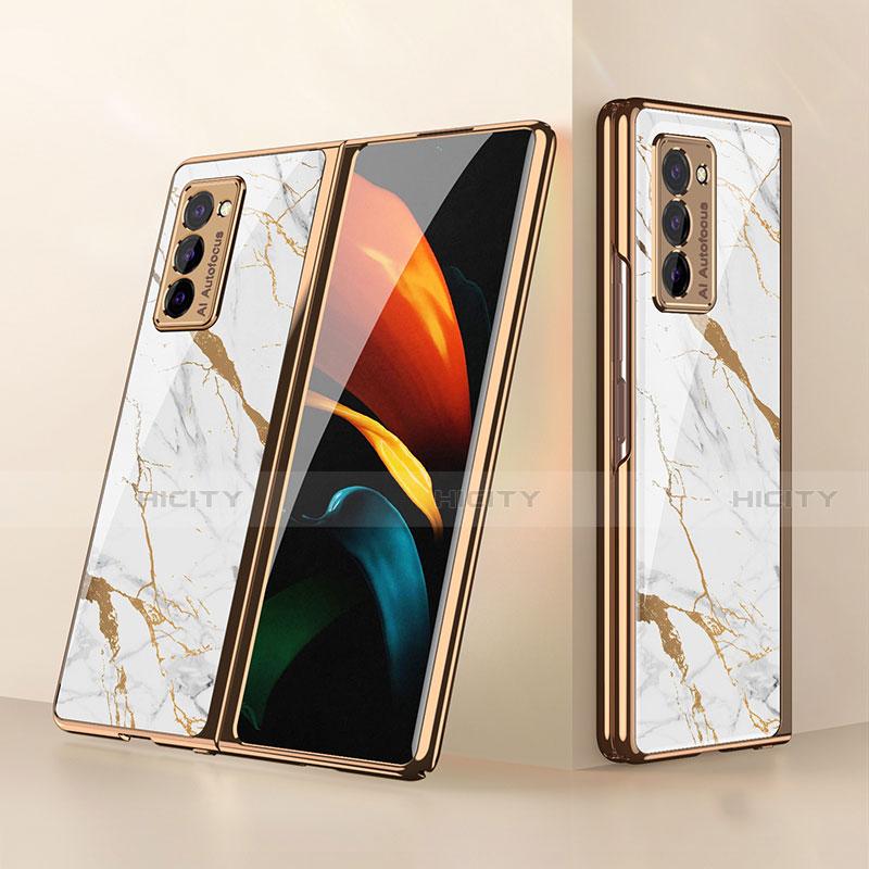 Carcasa Bumper Funda Silicona Espejo para Samsung Galaxy Z Fold2 5G Blanco