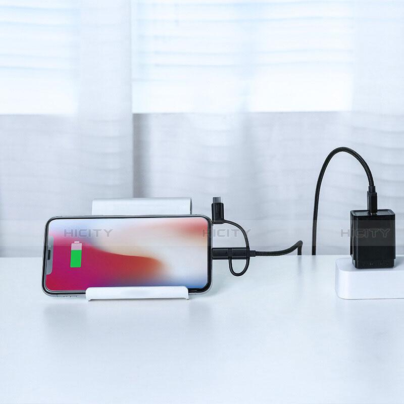 Cargador Cable Lightning USB Carga y Datos Android Micro USB C01 para Apple iPhone 11 Negro