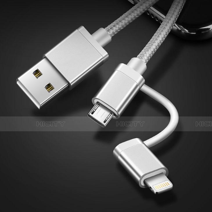 Cargador Cable Lightning USB Carga y Datos Android Micro USB C01 para Apple iPhone 11 Plata