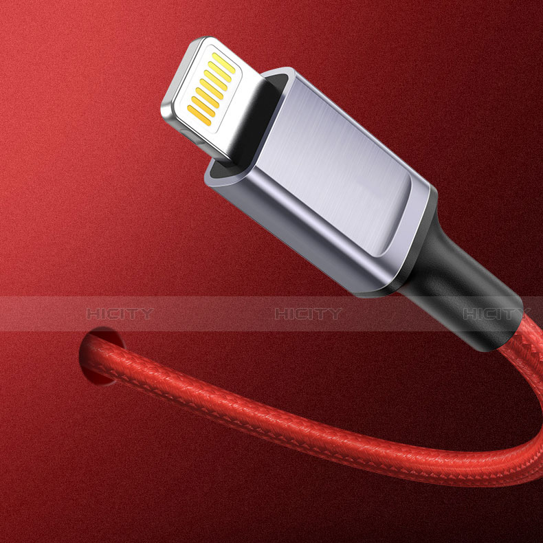 Cargador Cable USB Carga y Datos C03 para Apple iPhone 11 Rojo